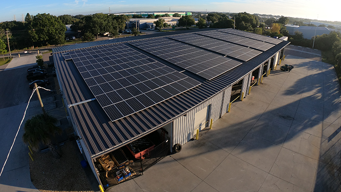 Commercial Building with Solar Panels