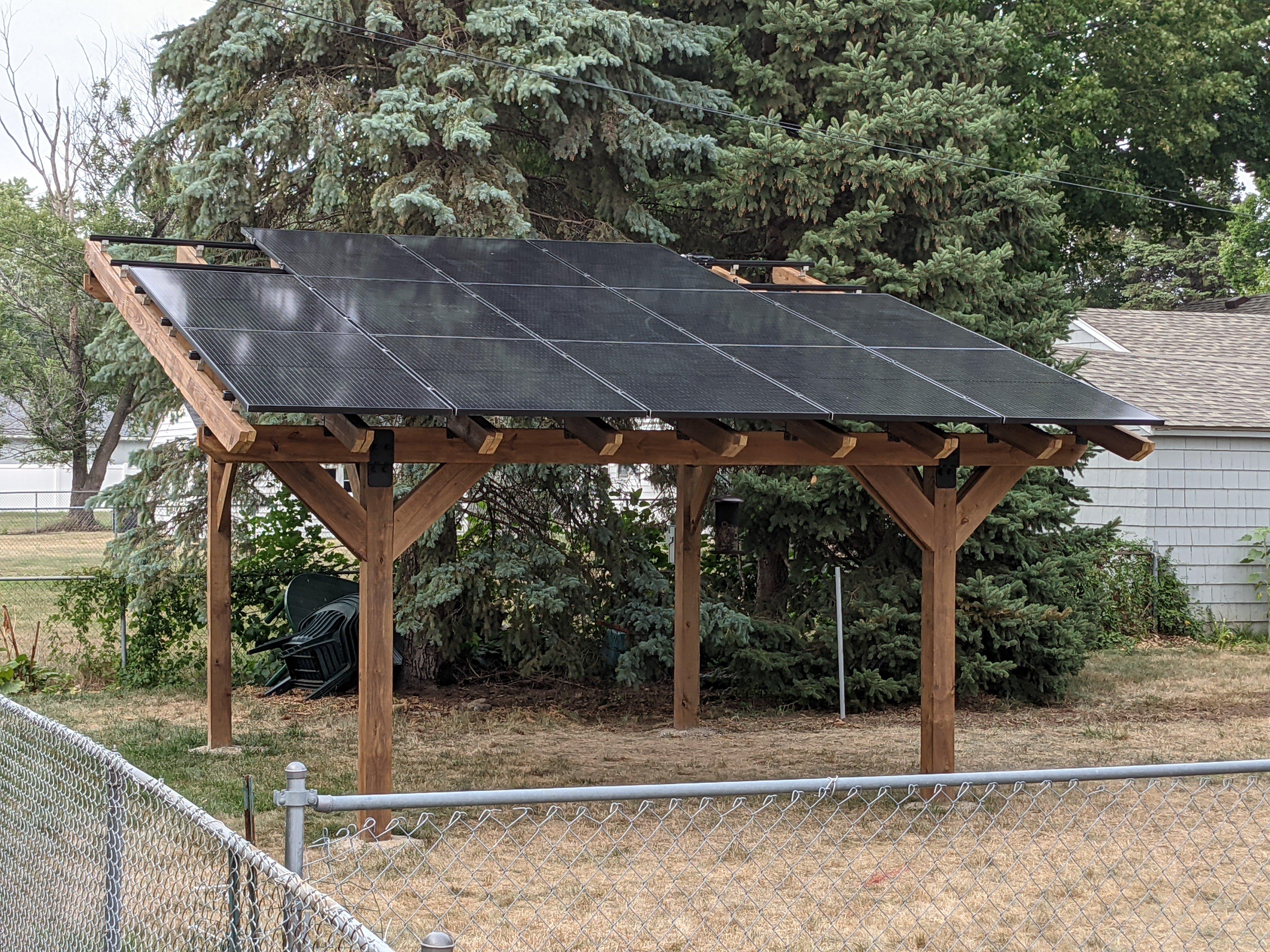 Kenosha Wisconsin solar panel pergola