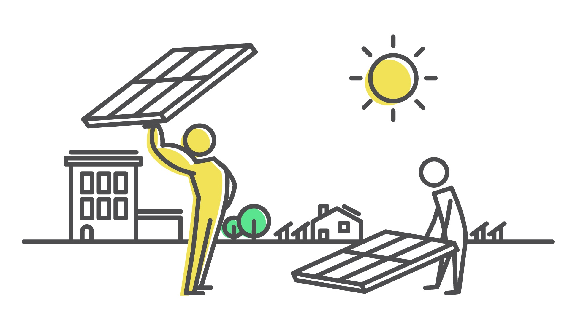 Physically fit solar installer heroically hoists a solar panel overhead as wimpish installer struggles to elevate his panel from the ground